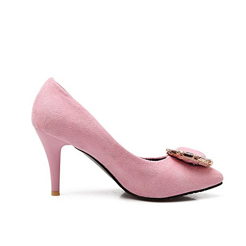 Allhqfashion Donna A Punta Chiusa Tacco Alto Solido Tira Su Pumps-shoes, Rosa, 32