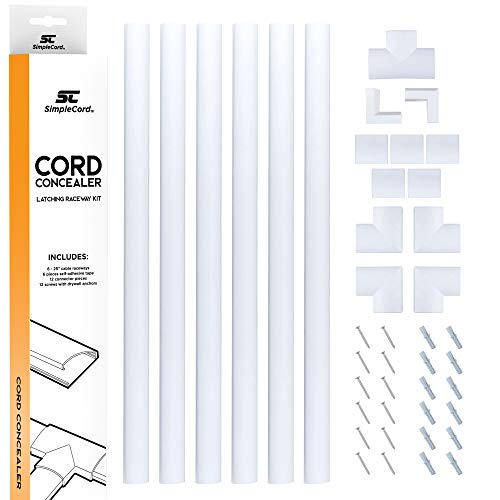 Cord Concealer System Covers Cables, Cords, or Wires - Cable Cover Management Raceway Kit for Hiding Wall Mount TV Power Cords in Home or Office - ()