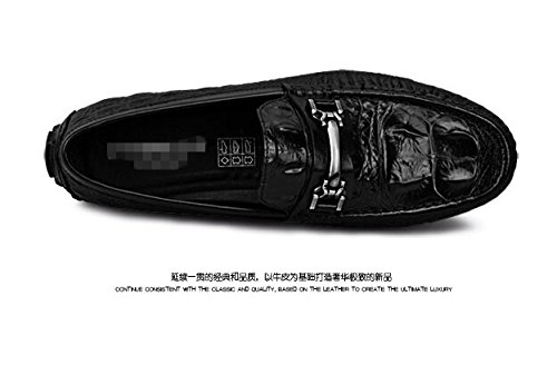 Happyshop (tm) Vera Pelle Croco Casual Fibbia Slip-on Mocassino Guida Moda Uomo Scarpe Da Barca Just Cavalli Black (8530)