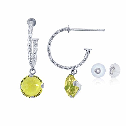 - 14K White Gold 12mm Rope Half-Hoop with 6mm Round Lemon Quartz Martini Drop Earring with Silicone Back