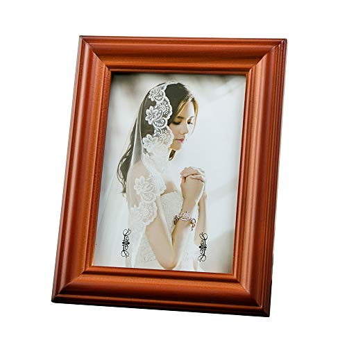 JJmaster Classic Solid Wood Rustic Style Glass Picture Photo Frame, 8x12, Walnut ()