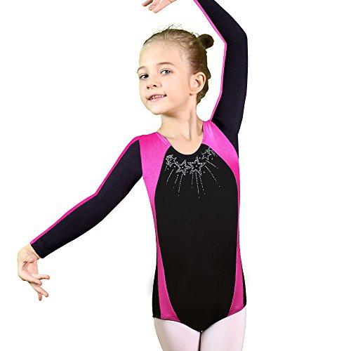 BAOHULU Gymnastics Leotard Girl One-Piece Sleeveless Diamond Stiching Sparkle Dance Biketards 3-12 Years (Stars Longsleeve, 12A(11-12Y))