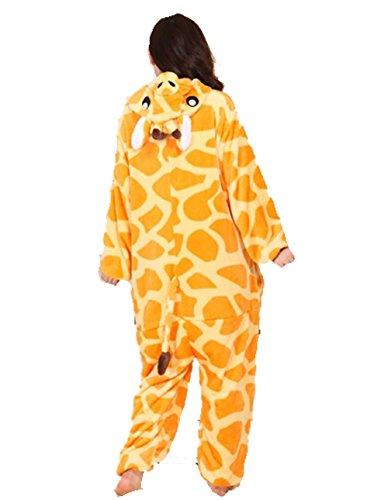 adulto in nightwear da Unisex motivo pyjamas Pigiama and flanella calda giraffa unisex 7pxwBqY