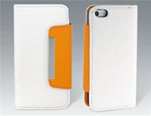 PU Leather Flip Case with a Handy Strap for iPhone 5 (White)