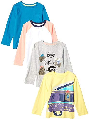Amazon Brand - Spotted Zebra Boy's Toddler 4-Pack Long-Sleeve T-Shirts, Forest Friends, 3T