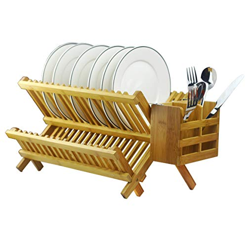 - Bamboo Dish Rack 2-Tier Collapsible Drainer Folding Wooden Dish Drying rack with Utensils Flatware Holder set Home Cabinet,18 Slots Keep Dry