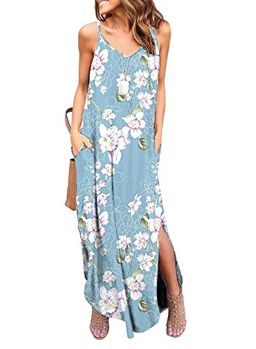 HUSKARY Women's Summer Casual Sleeveless V Neck Strappy Split Loose Dress Beach Cover Up Long Cami Maxi Dresses with Pocket Blue White (Best Dresses For Beach Vacation)