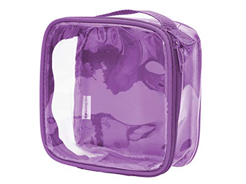 Clear TSA Approved 3-1-1 Travel Toiletry Bag/Transparent See Through Organizer (Purple) (3 1 1 Rule For Carry On Luggage)
