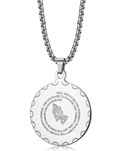 Jstyle Stainless Steel Coin Pendant Necklace for Men Women Bible Verse Prayer Religious Necklace 24