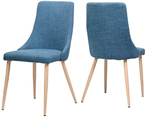 Great Deal Furniture Raphelle Mid Century Muted Blue Fabric Dining Chair