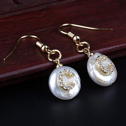 GEDASHU Earring Gold Micro Pave Cz Cubic Zirconia A-Z 26 Letter Name Freshwater Pearl Gold Charm Drop Earring for Women Wedding Gift ()