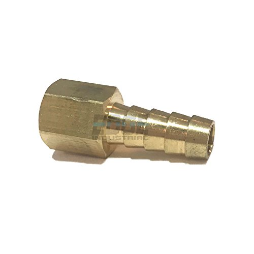 EDGE INDUSTRIAL 3/8 Hose ID to 1/4 Female NPT FNPT Straight Brass Fitting Fuel / AIR / Water / Oil / Gas / WOG (Qty 01)