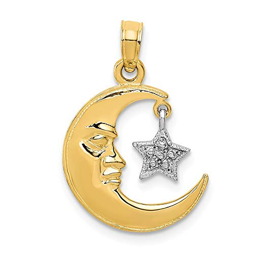 14k Two Tone Yellow Gold Half Moon Star Pendant Charm Necklace Celestial Fine Jewelry Gifts For Women For Her