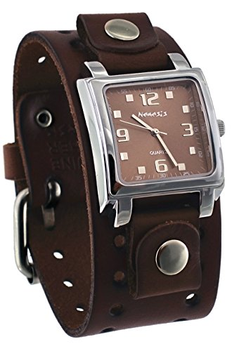 Dial Brown Leather Cuff (Nemesis #BBB516B Men's Dark Brown Wide Leather Cuff Band Analog Brown Dial Watch)