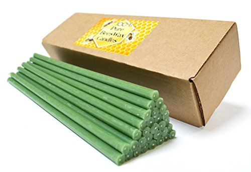 (Natural Pure Beeswax Candles Organic Honey Eco Green Color Candles in Gift Box (Natural Cotton Wicks, Dripless, Smokeless) (Green, 8 Inches (20 cm) 30pcs))