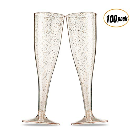 Wedding Party Toasting Flute - 100 Pack Gold Glitter Plastic Champagne Flutes 5 Oz Clear Plastic Toasting Glasses Disposable Wedding Party Cocktail Cups