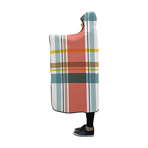 Hooded Blanket Red Light Green Tartan Plaid Pattern Blanket 60x50 Inch Comfotable Hooded Throw Wrap