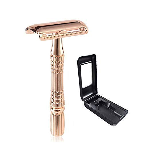 Rose Gold Safety Razor with Travel Case, DREZUR Double Edge Razor (Includes 10 Razor Blades), Texture Handle for Comfortable Grip