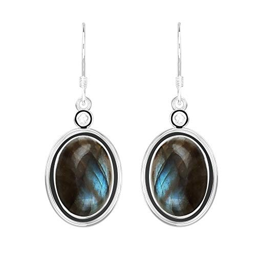- Solid 925 Sterling Silver Vintage Boho Style Dangle Earrings With Natural Labradorite