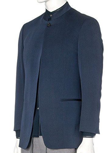 [Spectre Movie Costume Collection Christoph Waltz Wool Blend Blue Nehru Outwear Coat For Mens XXL] (Bond Villains Costumes)