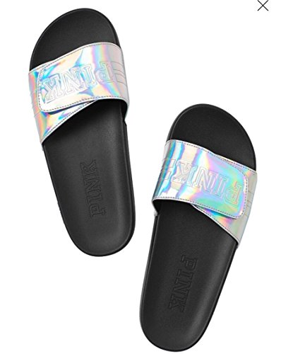 Victorias Secret PINK Crossover Sandals Slide Slippers, Shimmering, Small