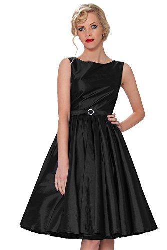 Cl¨¢sico Vintage clase Audrey oscilaci¨®n Hepburn 24T SEXYHER Rockabilly 1950 Negro RBJ1401 Tarde ropa vestido del Estilo BTqIwY