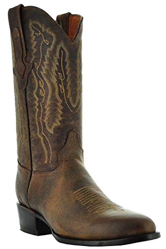 Soto Boots Mens Odessa Round Toe Cowboy Boots (Brown,13)