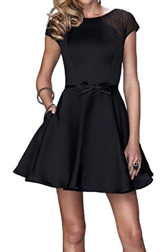 ivyd ressing Mujer Fácil corta aermel satén & tuell Prom vestido Fiesta Vestido para vestido de noche negro