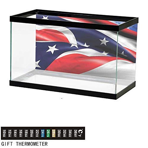 bybyhome Fish Tank Backdrop American,Waving Ohio Flag Stars,Aquarium Background,36
