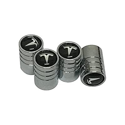 4pcs Silver Chrome Tesla Logo Emblem Auto Car Wheel Tire Air Valve Caps Stem Cover Accessories For Tesla Model S/Model X/Model 3: Automotive