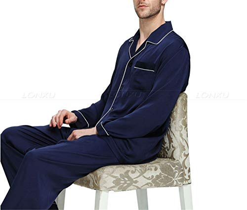 Da Seta Splento Set Nero Pigiama Uomo Loungewear Di In Raso Xxxl wIZqXI