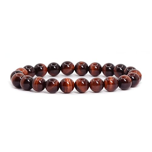 Natural A Grade Red Tiger's eye Gemstone 8mm Round Beads Stretch Bracelet 7