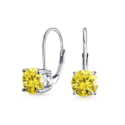 1Ct Canary Yellow Solitaire Round Brilliant Cut Cubic Zirconia Leverback Drop Earrings Simulated Topaz Sterling Silver