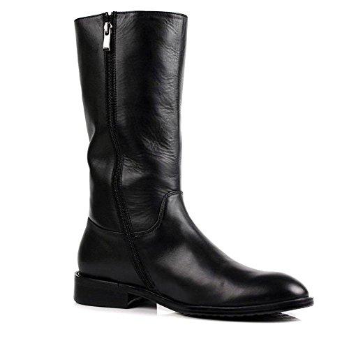 Hombres Alto Rodilla Caballero Botas Otoño Invierno Martín británico Cuero Zapatos Lado Cremallera Negro black