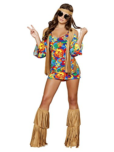 Roma Costume 3 Piece Hippie Hottie Costume, Multi/Brown, XX-Large]()