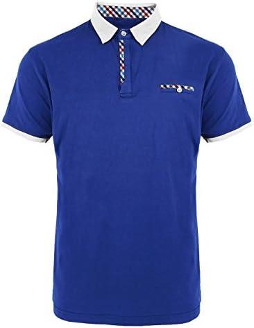 [Patrocinado] Algodón Spandex cierre de botón camisas de Polo de manga corta para hombre Slim Fit–Royal Azul/Blanco/Azul claro/rojo/azul marino/negro