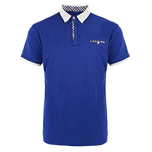 Erin Garments Mens Slim Fit Button Closure Short Sleeve Polo Shirts Blue
