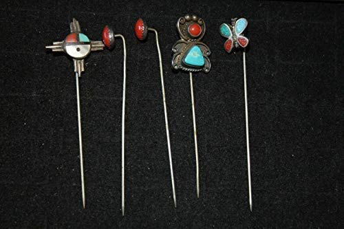 Turquoise Sterling Silver Stick Pins Vintage pin & Antique coral Western style