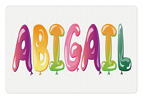 - Ambesonne Abigail Pet Mat for Food and Water, Colorful Feminine Name Festive Alphabet with Historical Roots Cartoon Lettering, Rectangle Non-Slip Rubber Mat for Dogs and Cats, Multicolor