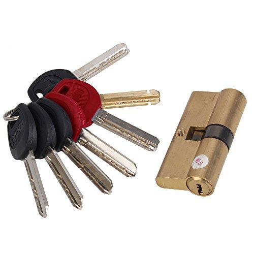BQLZR Euro Profile Cylinder Barrel 5 Pin Lock Brass Satin Nickel Finish 65mm With 7 Keys