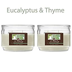 Hosley Set of 2 Eucalyptus Thyme Highly Scented 2 Wick, 10 Oz Jar Candle. Ideal votive GIFT for Party Favor, Bridal, Wedding Spa Reiki, Meditation, Bathroom settings