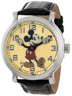 Mickey Mouse Watch Value >> Disney Men S 56109 Vintage Mickey Mouse Watch With Black Leather Band
