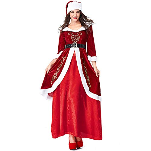Womens Mrs. Claus Costume Christmas Suit Premium Classic Long Dress Cosplay Outfits