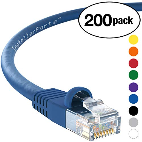 Utp Cable Splitter - InstallerParts (200 Pack) Ethernet Cable CAT5E Cable UTP Booted 3 FT - Blue - Professional Series - 1Gigabit/Sec Network/Internet Cable, 350MHZ
