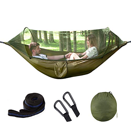 umsky Camping Hammock,Double Backpacking Sleeping Hammocks with Mosquito Net & Tree Straps - Lightweight Nylon Portable Hammock(Parachute Cloth)- Suitable for Camping, Travel, Courtyard