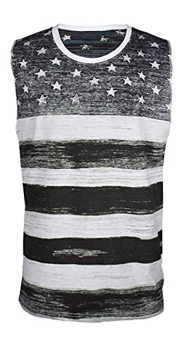 Licensed Mart Men's American Flag Stripes and Stars Muscle Shirt, Black/White S -