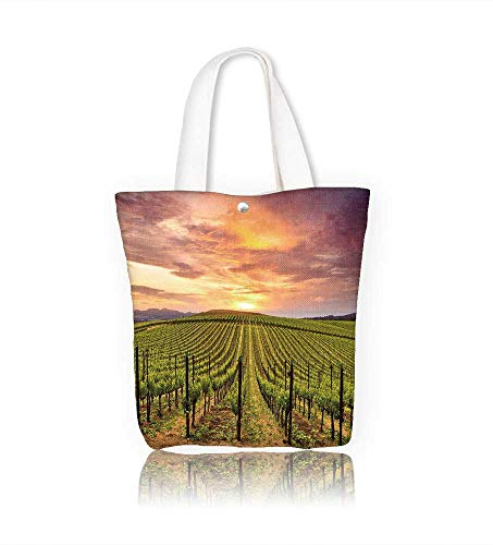 Reusable Cotton Canvas Zipper bag napa valley vineyards autumn sunrise Tote Laptop Beach Handbags W11xH11xD3 INCH ()