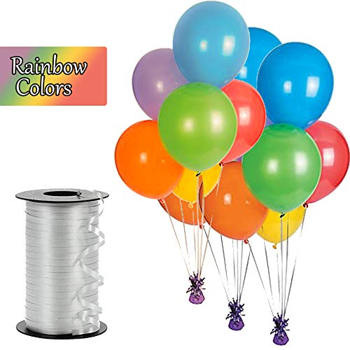 Balloons, 12 Inch Latex Party Balloons, 48 Pieces, Strong Latex for Helium Or Air, for Holiday Party's Decoration, Weddings, Birthday Party - with Curling Balloon Ribbon, 500 Yards (Rainbow -
