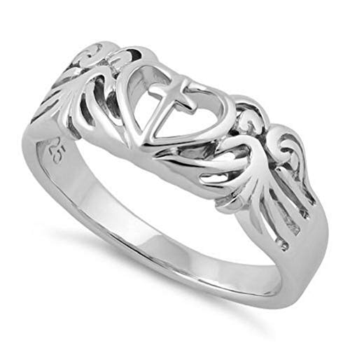 Heartbeat Sterling Silver The Beauty of Love and Faith Connection Symbol,4 Design Collection Rings(Size 3-12) (Sterling-Silver Guardian Angle Wing Connection, 8)