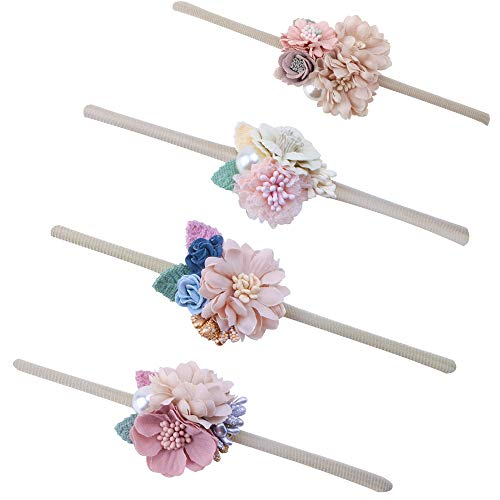 Baby Girl Floral Headbands Set - 4pcs Mini Flower Crown Newborn Toddler Hair Accessories by mligril